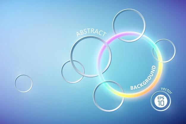 Cartel de luz abstracto con anillo de neón colorido y círculos grises