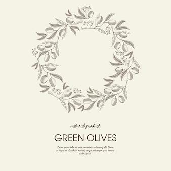 Cartel de luz de guirnalda redonda floral abstracto con texto y ramas de aceitunas verdes en el estilo de dibujo