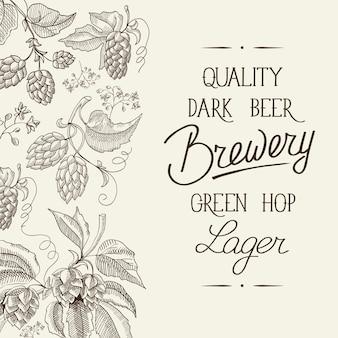 Cartel de luz vintage floral abstracto con texto caligráfico y plantas de hierbas de lúpulo de cerveza dibujadas a mano
