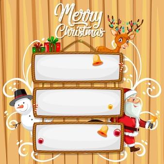 Cartel de madera en blanco con letras feliz navidad y personaje de dibujos animados