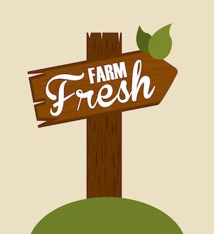 Cartel de madera fresca de granja