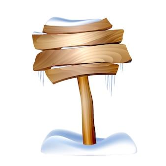 Cartel de madera en nieve sobre fondo blanco. ilustración