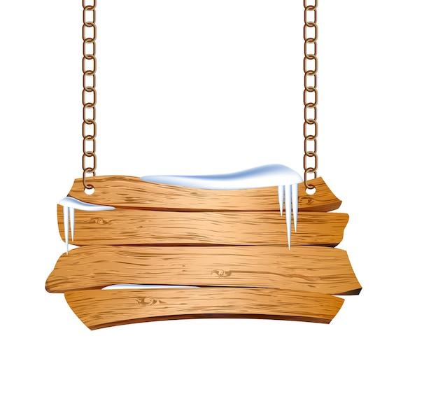 Cartel de madera suspendido de cadenas. ilustración