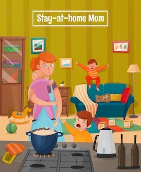 Cartel de la madre cansada de la maternidad