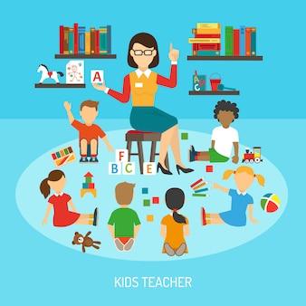Cartel de maestro de niños