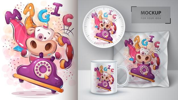 Cartel mágico de unicornio y merchandising