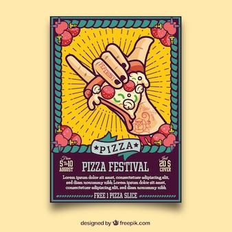 Cartel de mano con un trozo de pizza para festival