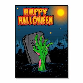 Cartel de mano de zombie aterrador halloween