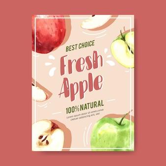 Cartel con manzana roja y frutas verdes, plantilla de ilustración acuarela