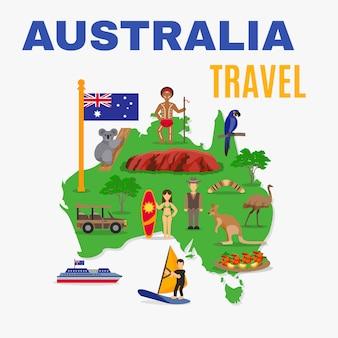 Cartel del mapa del viaje de australia
