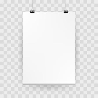 Cartel de maqueta blanco en blanco maqueta con carpetas. maqueta del cartel del vector con la sombra realista en el fondo a cuadros.