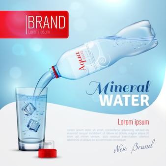 Cartel de marca de publicidad de agua mineral
