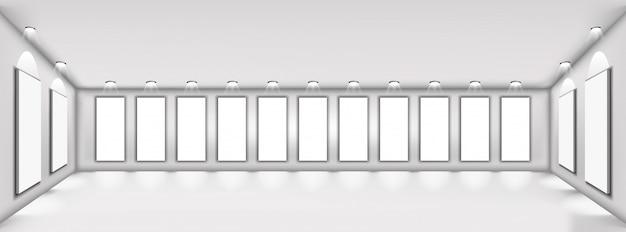 Cartel marco blanco, fondo blanco en habitación limpia