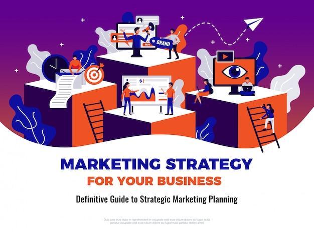 Cartel de marketing digital con guía y símbolos de planificación planos