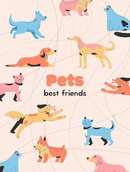 El cartel de las mascotas es el mejor concepto de amigos.
