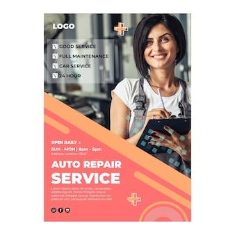 Cartel de mecánico de reparación de automóviles.