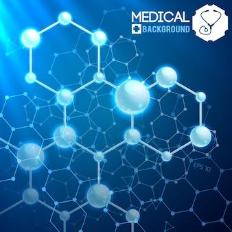 Cartel médico con estructura y fórmulas químicas atómicas y moleculares originales en el cósmico azul