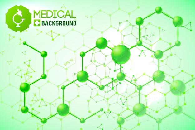 Cartel médico con estructura y fórmulas químicas atómicas y moleculares originales en el verde