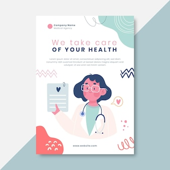 Cartel médico infantil dibujado a mano
