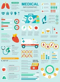 Cartel médico con plantilla de elementos infográficos en estilo plano