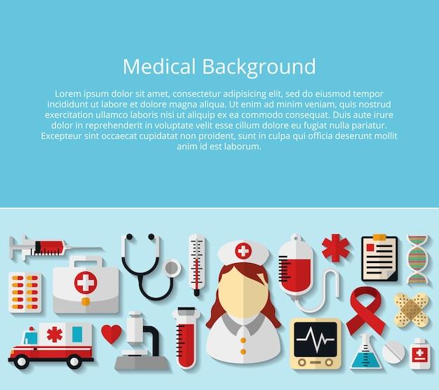 Cartel médico y sanitario con texto de ejemplo. microscopio y adn, hospital y médico, estetoscopio y tubo, medicamento y termómetro