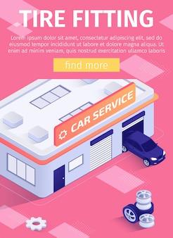 El cartel de los medios ofrece servicio de montaje de neumáticos