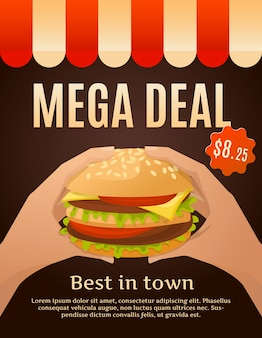 Cartel mega deal con hamburguesa