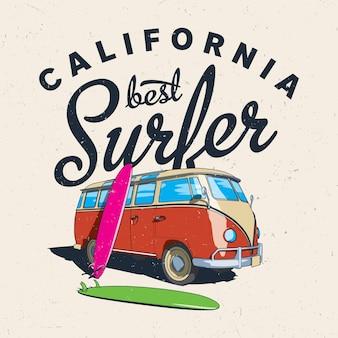 Cartel del mejor surfista de california con autobús y tablero en una ilustración efectiva