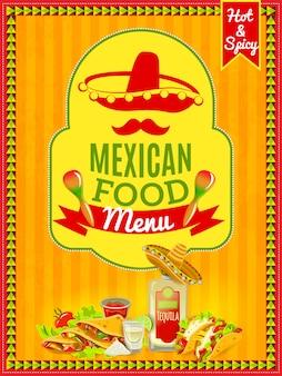 Cartel del menú de comida mexicana