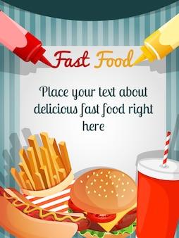 Cartel del menú de la comida rápida