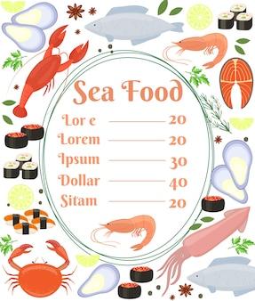 Cartel de menú de mariscos vector colorido con un marco central con texto y un camarón rodeado de pescado sepia calamares langosta cangrejo sushi camarón langostino mejillón salmón filete y hierbas