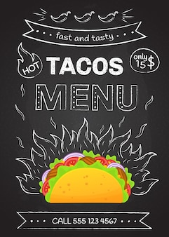 Cartel de menú de tacos de comida rápida de cocina mexicana