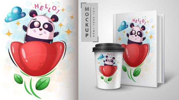Cartel y merchandising de flores y panda.