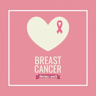 Cartel mes de concientización sobre el cáncer de mama con corazón y cinta