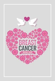 Cartel del mes de concientización sobre el cáncer de mama con corazón y palomas