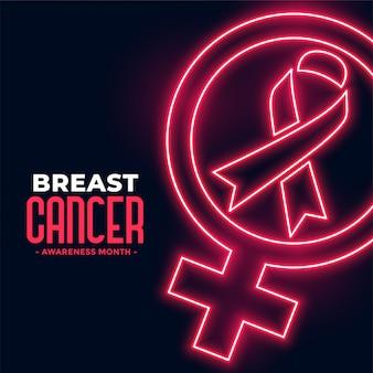 Cartel del mes de concientización sobre el cáncer de mama en estilo neón