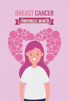 Cartel de mes de concientización sobre el cáncer de mama con mujer