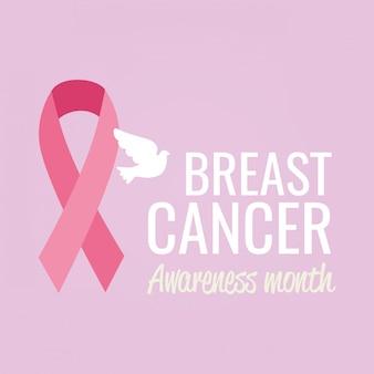 Cartel del mes de concientización sobre el cáncer de mama con paloma y cinta