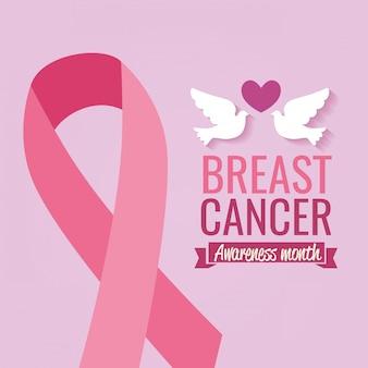 Cartel mes de concientización sobre el cáncer de mama con palomas y cinta