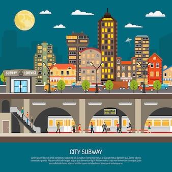 Cartel del metro de la ciudad