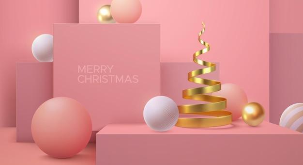 Cartel minimalista de feliz navidad de forma de hélice de árbol de navidad dorado y fondo arquitectónico rosa