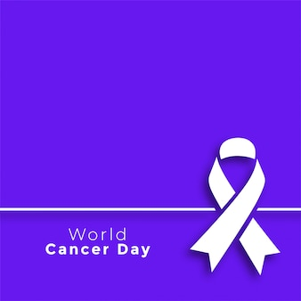 Cartel mínimo del día mundial del cáncer púrpura