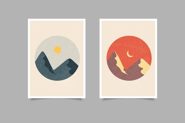 Cartel moderno colección de paisajes