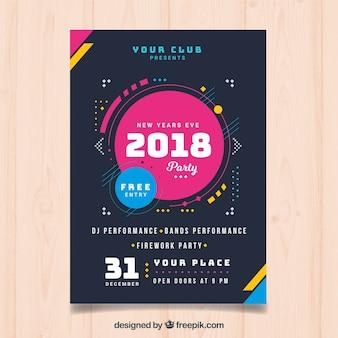 Cartel moderno de año nuevo 2018