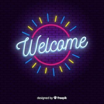 Cartel moderno de bienvenida con estilo de luces de neón