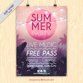 Cartel moderno de fiesta de verano con luces y palmeras