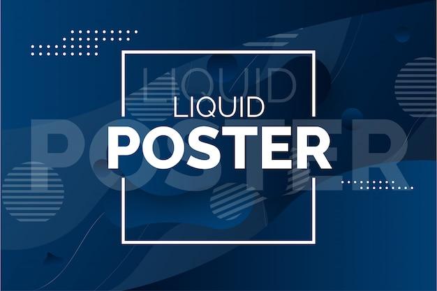 Cartel moderno líquido con ondas abstractas