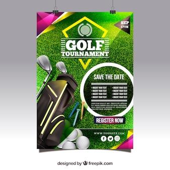 Cartel moderno de torneo de golf