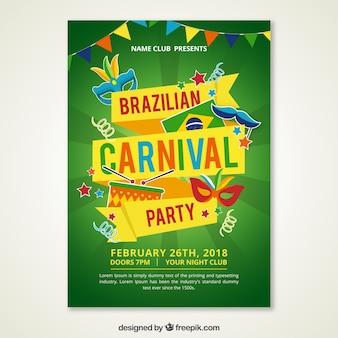Cartel moderno verde de carnaval brasileño