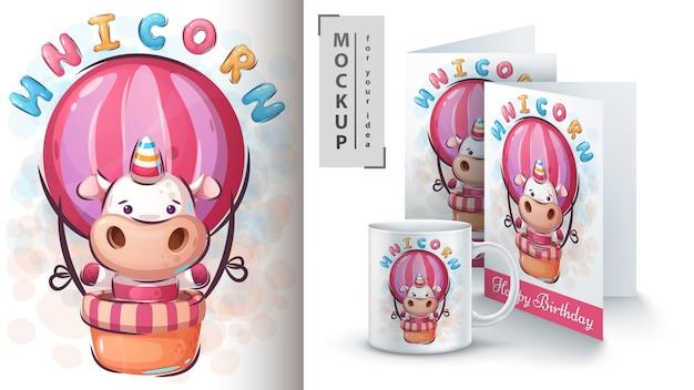 Cartel de monstruo mágico unicornio y merchandising